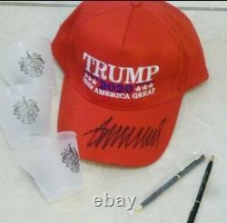 Donald Trump Hat Hand Signé Aveccoa Autographe Red Maga Kag Cap + Golf Extras