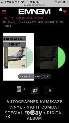 Eminem Kamikaze Autographié, Edition Spéciale Combat De Nuit En Vinyle! Le 50 À La Main