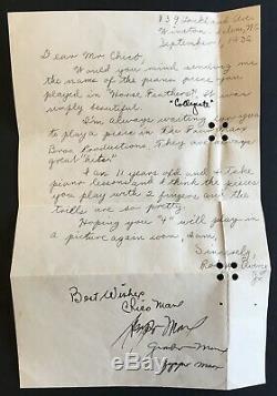 Four Brothers Marx Autographié Lettre Fan Ca. 1932 Signée À La Main