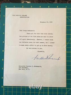 Franklin D. Roosevelt Main Signée Dactylographié Lettre De La Maison Blanche 1935