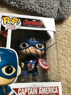 Funko Pop Captain America Démasqué Avengers 92 Autographe Signé De Chris Evans