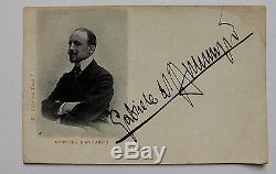 Gabriele D'annunzio Authentic Signé Dans Sa Main Carte Postale Ancienne Photo Ca 1890