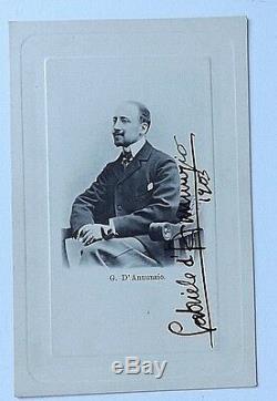 Gabriele D'annunzio Authentique Signé Dans Sa Main Carte Postale Ancienne Photo Datée 1903