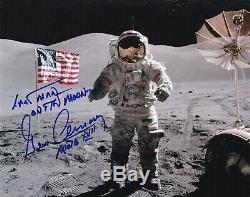 Gene Cernan Apollo 17 Dernier Homme Sur La Lune Main Signe 8x10 Photo Nasa W-loa