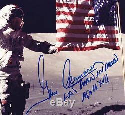 Gene Cernan Apollo 17 Lune Walker - Lunaire Eva - Signé À La Main 8x10 Photo Nasa W-loa