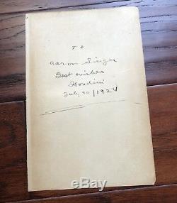 Harry Houdini Page Signée Et Inscrite Au Livre De Psa / Adn Autographe Magician