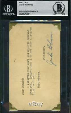 Jackie Robinson Bas Beckett Autograph Early 3x5 Index Carte Main Authentique Signée