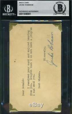 Jackie Robinson Bas Beckett Autograph Early 3x5 Index Carte Main Authentique Signée