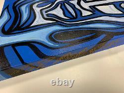 Jeff Hardy Blue Aujourd'hui Original 1/1 Boîte Peinte À La Main Toile Signé Et Daté Art