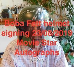 Jeremy Bulloch Et Porté La Main Signé Star Wars Boba Fett Casque Coa & Épreuve Photo