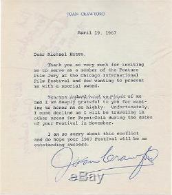 Joan Crawford Signée À La Main Lettre Autographié 1967 Hollywood Legend