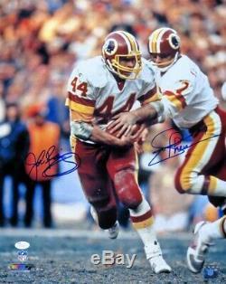 Joe Theismann John Riggins Double Autographié 16x20 Photo Redskins Main Off Jsa