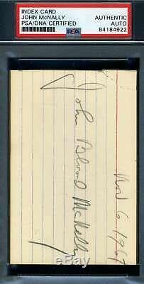 Johnny Sang Mcnally Psa Adn Coa Autograph Signée À La Main 3x5 Carte Index