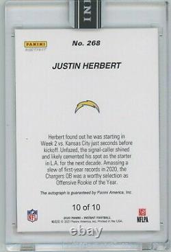 Justin Herbert 2020 NFL Instant #268 Orange /10 Auto In Hand Roty