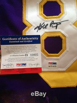Kobe Bryant Autographié Par Jersey De Maillot Violet # 8 Peint À La Main Signé 1/1 Psa Coa