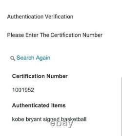Kobe Bryant Black Mamba Signé À La Main Autographe Basketball Ball Authenticité