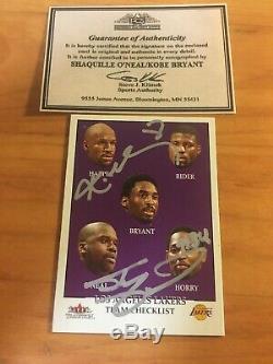 Kobe Bryant / Shaquille O'neal Fleer Main Signé Carte Autographe Avec Coa-authentique