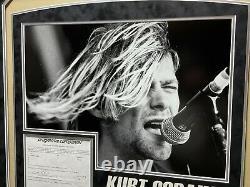 Kurt Cobain Main Signée Lettre De Police D'assurance Automobile Encadrée Jsa Coa Autographe