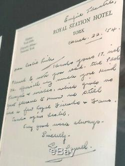 Laurel Et Hardy Stan Laurel Ultra Rare Lettre Écrite Signée À La Main Uacc