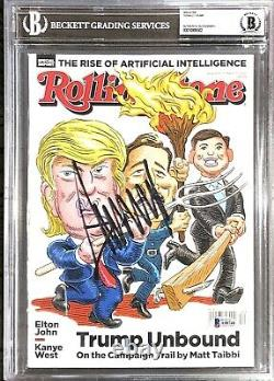 Le Président Dondald Trump Signé À La Main Magazine Beckett Encapsulé Avec Loa Rare