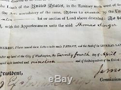 Le Président James Monroe Hardiment Main Signe Présidentielle Document 1819