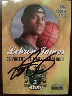 Lebron James Rookie Gold 2002 Signé À La Main Autographed Rookie Phenoms Card Withcoa