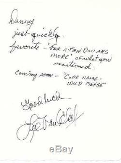 Lee Van Cleef Rare À La Main Écrit Et Signé Signé Western Legend Autographe