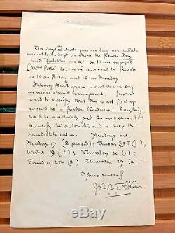 Lettre Signée Par Écrit À La Main J R R Tolkien