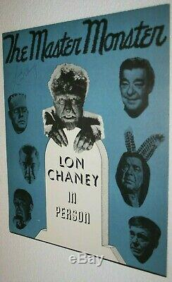 Lon Chaney Jr. Signée À La Main Autographié Ad Poster Withcoa Wolfman