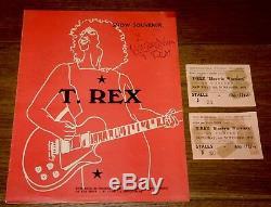 Marc Bolan T Rex Signée À La Main Uk Tour De Programme Avec Deux Billets 1971 Uaac Dealer