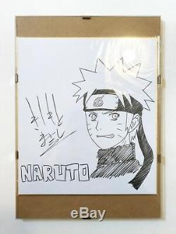 Masashi Kishimoto Dessin Naruto Signé À La Main + Cadre En Verre Extrêmement Rare