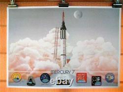 Mercury 7, Signé À La Main, Édition Limitée (1500) Lithographie Circa1988, 35x25