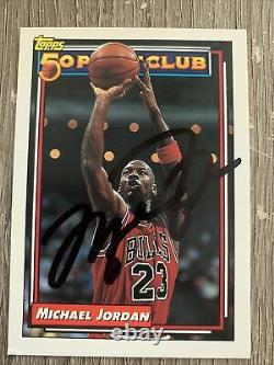 Michael Jordan Hand Signé Autographié Chicago Bulls Basketball Card Avec Coa