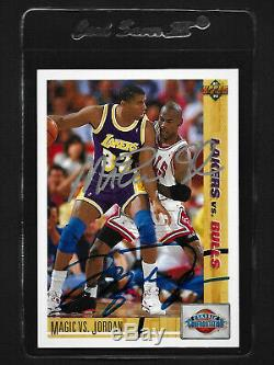 Michael Jordan / Magic Johnson 1991 Ud Double Main Signé Autograph Card # 34 Avec Coa
