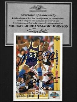 Michael Jordan / Magic Johnson Upper Deck Double Main Signé Carte Autographe Withcoa