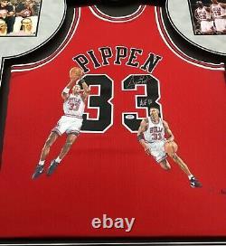 Michael Jordan, Pippen Et Rodman Peints À La Main Des Maillots Autographiés Encadrés Ensemble