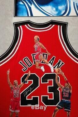 Michael Jordan, Scottie Pippen Et Dennis Rodman Dédicacé Pièce Peinte À La Main