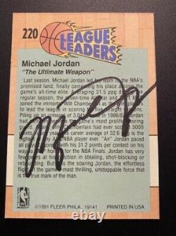 Michael Jordan Signé À La Main Autograph Auto Trading Card 1991 Fleer #220 No Coa