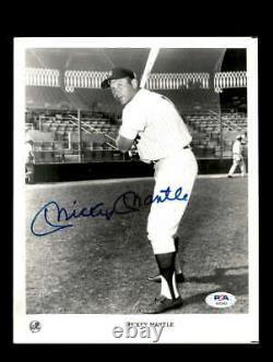 Mickey Mantle Psa Dna Coa Signé À La Main 8x10 Yankees Photo Autographe