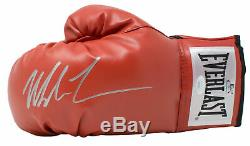 Mike Tyson Signé Red Everlast Main Gauche Gant De Boxe D'argent Jsa