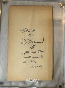 Muhammad Ali Deluxe Protégé Autographié Cut Et Inscription Écrite À La Main Jsa