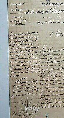 Napoléon Bonaparte Original Signé 3 Document Page W Remarque Dans Sa Main Fait 1811