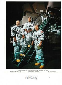 Nasa Apollo 8 Crew Lithographie Originale Signée À La Main Autographié X Tous Les 3