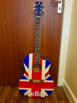 Noel Gallagher, Main 'oasis Signée Union Jack En Taille Réelle Guitare Acoustique