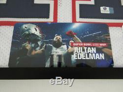 Nouveau Julian Edelman Patriots Autographié Maillot Blanc Signée À La Main Encadrement Avec Coa