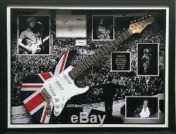 Oasis Main Display Signé Avec L'union Jack Guitare Encadré Liam Noel Andy Gem Alan
