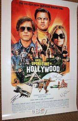 Once Upon A Time Signée À La Main Autograph Poster Brad Pitt Leonardo Dicaprio