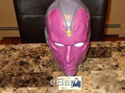 Paul Bettany Rare Signé Autographié Par The Vision Prop Mask Marvel Comics Coa