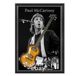 Paul Mccartney Signé À La Main Framed Certificat De Guitare Grandeur Nature Beatles Lennon