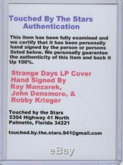 Portes X3 Autograph Signée À La Main Enregistrement Cover Album Coa Ray Manzarek Robby Krieger